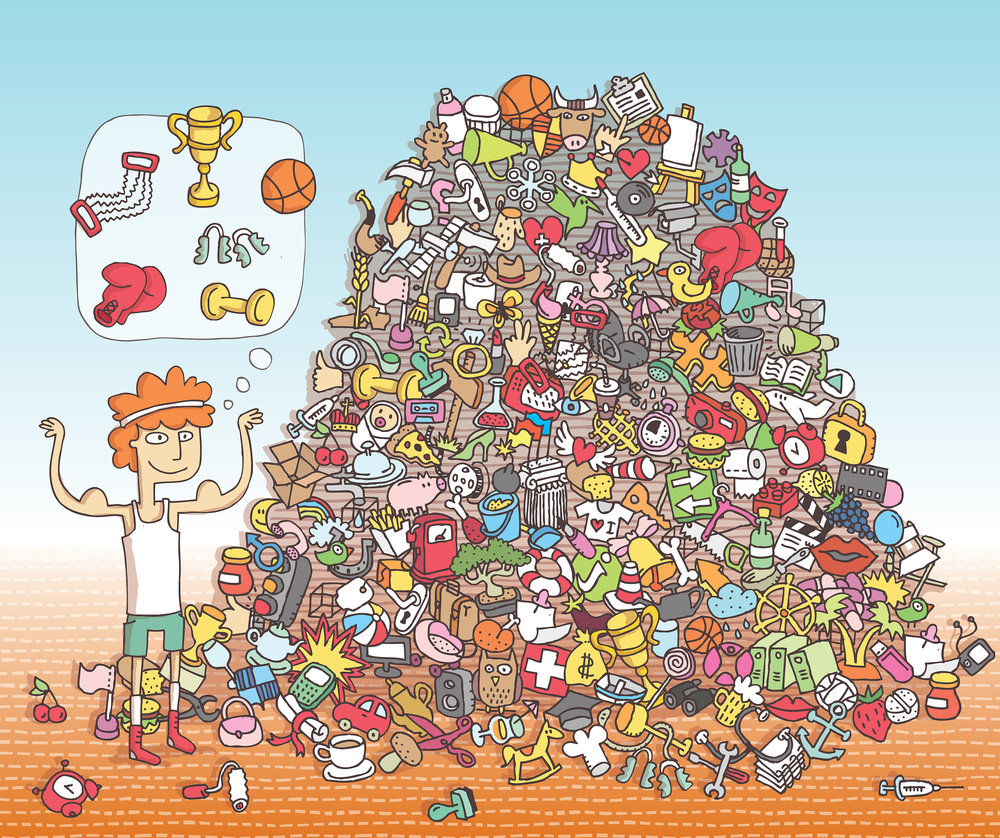 Can you find all the sports items in the pile?  Artist: Vook