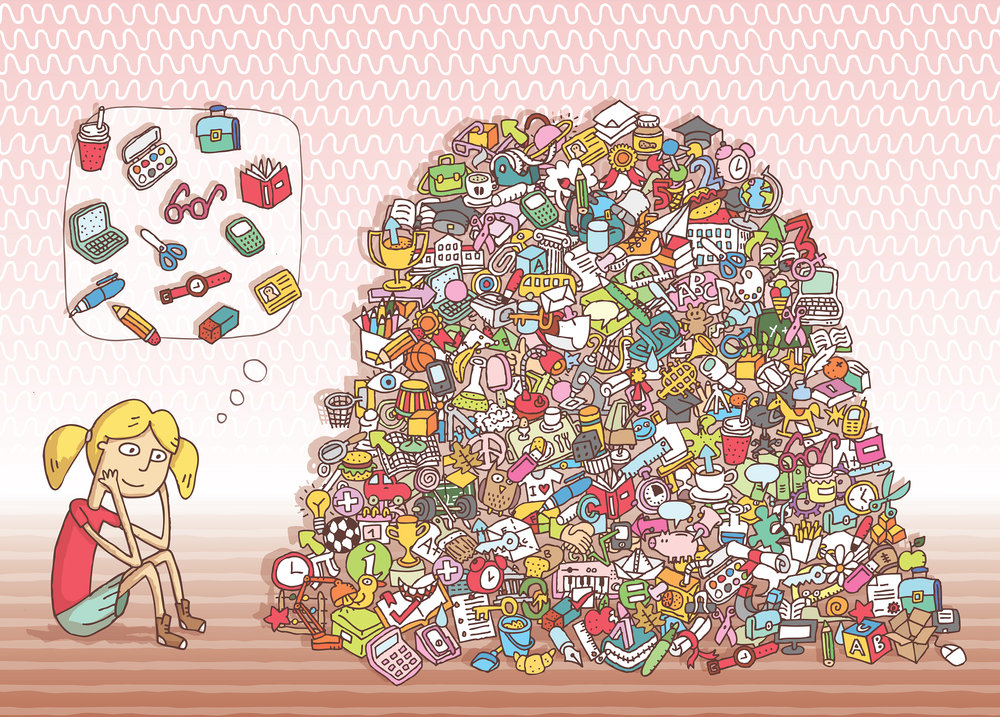 Can you find all the school items in the pile?  Artist: Vook