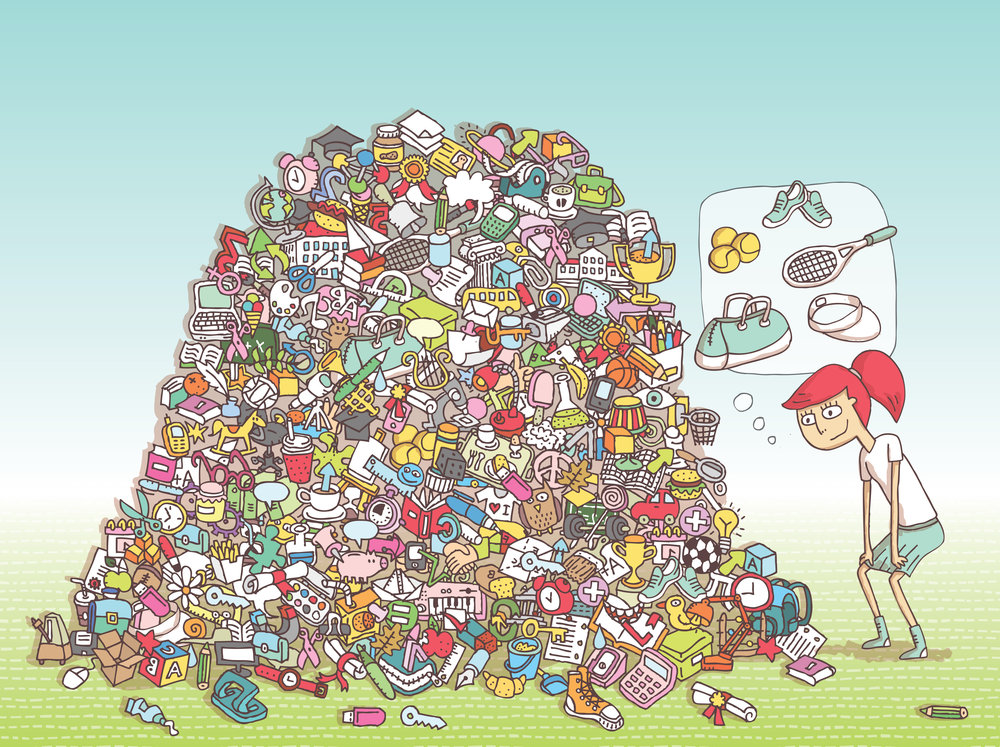 Can you find all the tennis equipment in the pile?  Artist: Vook