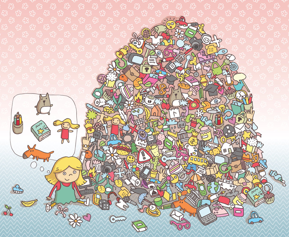 Can you find all the children toys in the pile?  Artist: Vook