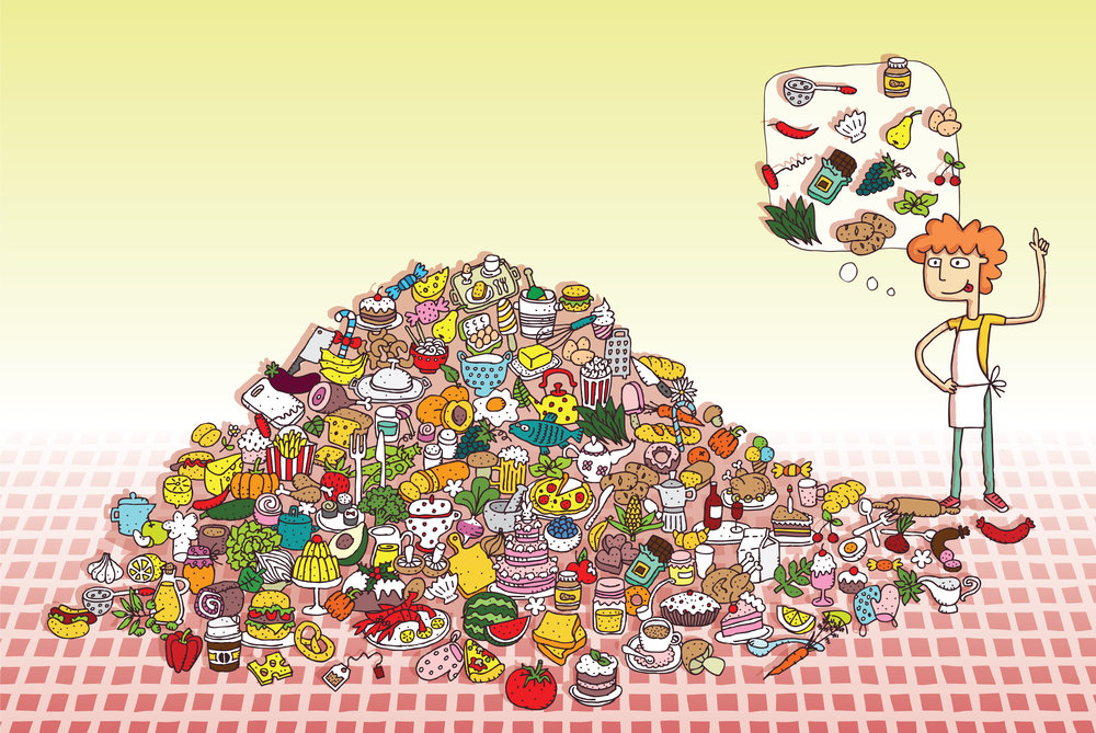 Can you find all the food items in the pile?  Artist: Vook