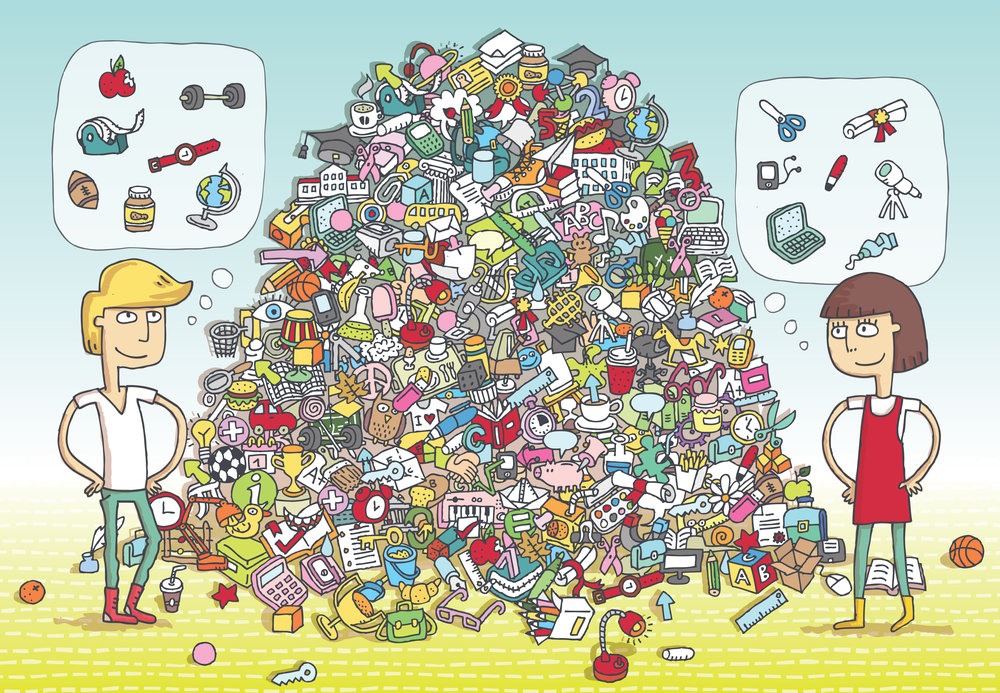 Can you find all the hobby items of interest in the pile?  Artist: Vook