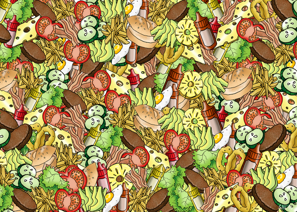 Can you find the pickle hidden in this pile of food?  Artist:  Sally-Ann Heron