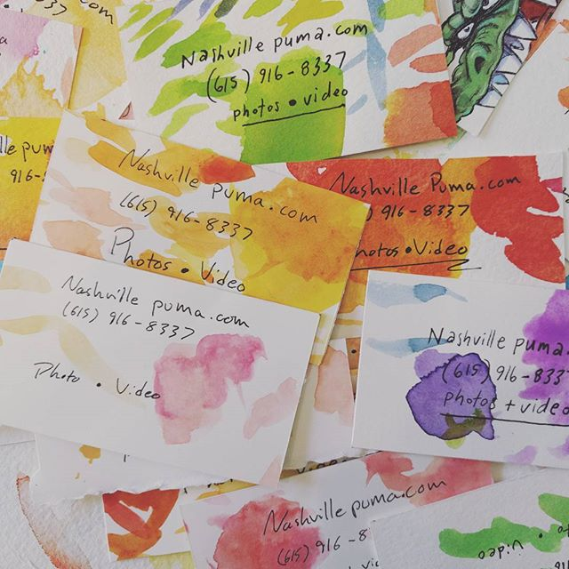 Forget Vista print... Hand made business cards.#nashvillephotographer #business #watercolor