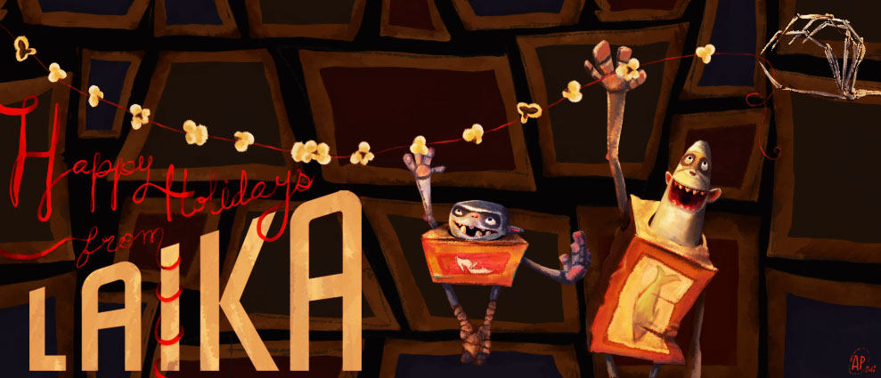 Holiday illustration entered into Laika's 2017 holiday cover photo contest, incorporating the Boxtrolls and the notorious Other Mother hand from 'Coraline'.