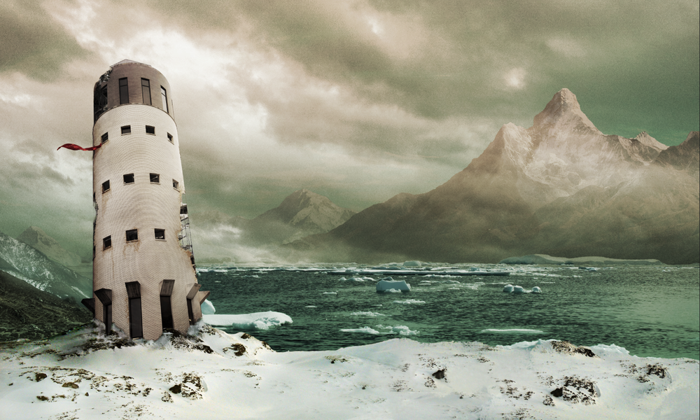 A composite of twelve separate images combined to transport a building from Texas A&M University's campus to a dystopian mountain scene in Nepal, through a mix of compositing and digital painting techniques.