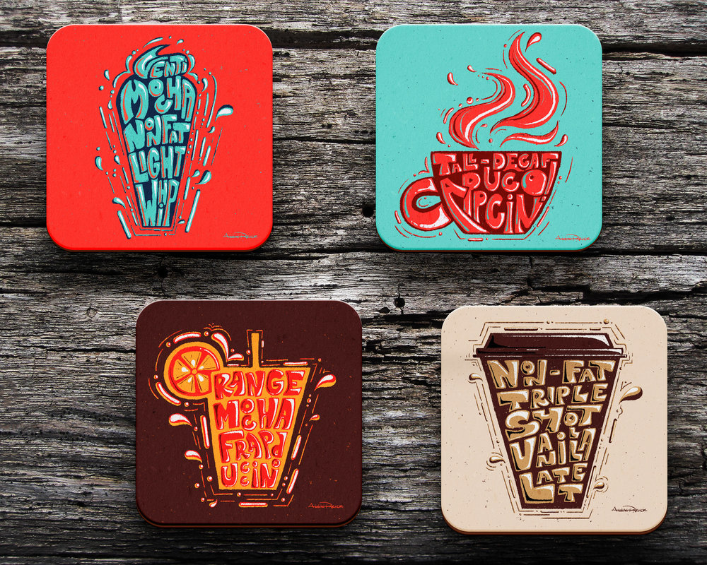 A lettering and illustration series of coffee order coasters currently under development! Bring on the brew.