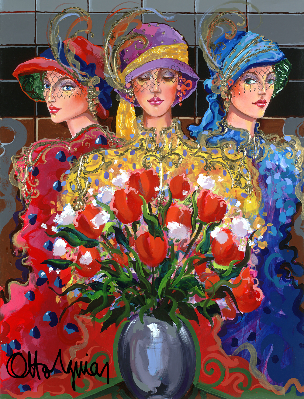 Three Ladies with Wildflowers