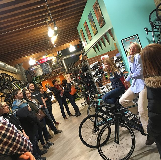 """Q&A at @ontheroutebikes with the @bianchi_usa pro women cyclists of the new @teamcolavita #womenbike #womenbikechicago #bikeadvice """"#1 advice get comfortable on the bike and go from there"""""""