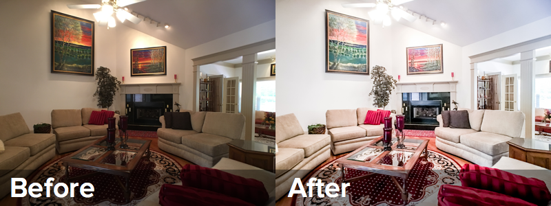 The before photo shows how narrow the field of view is on a standard camera. The after photo taken with a wide-angle lens more detail like the skylight and the fireplace.