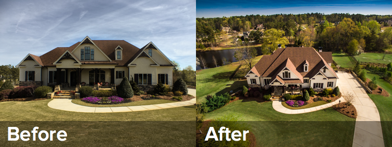The before photo shows a property as taken from the ground. The after photo taken shows the impact aerial photos can have on a listing.