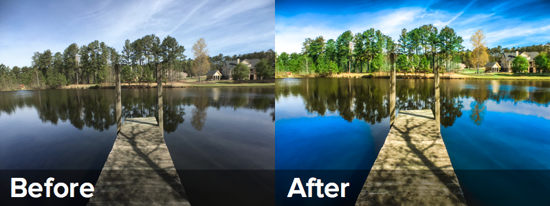 The before photo shows the shot as taken. The after photo has enhancedments made to increase the vibrancy of blues and greens - both key factors in attracting attention online.