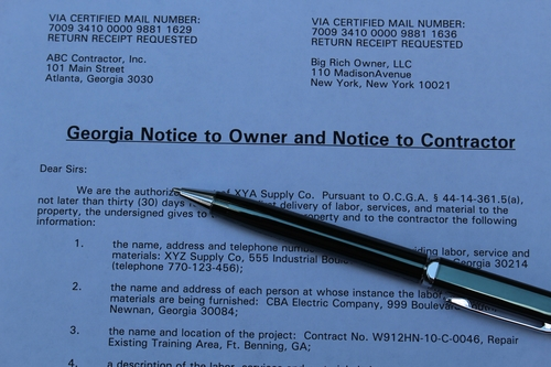 Georgia Notice to Owner / Notice to Contractor (outsourced to TeamLien)