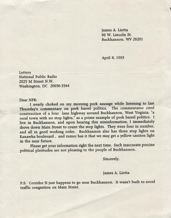 Letter to NPR