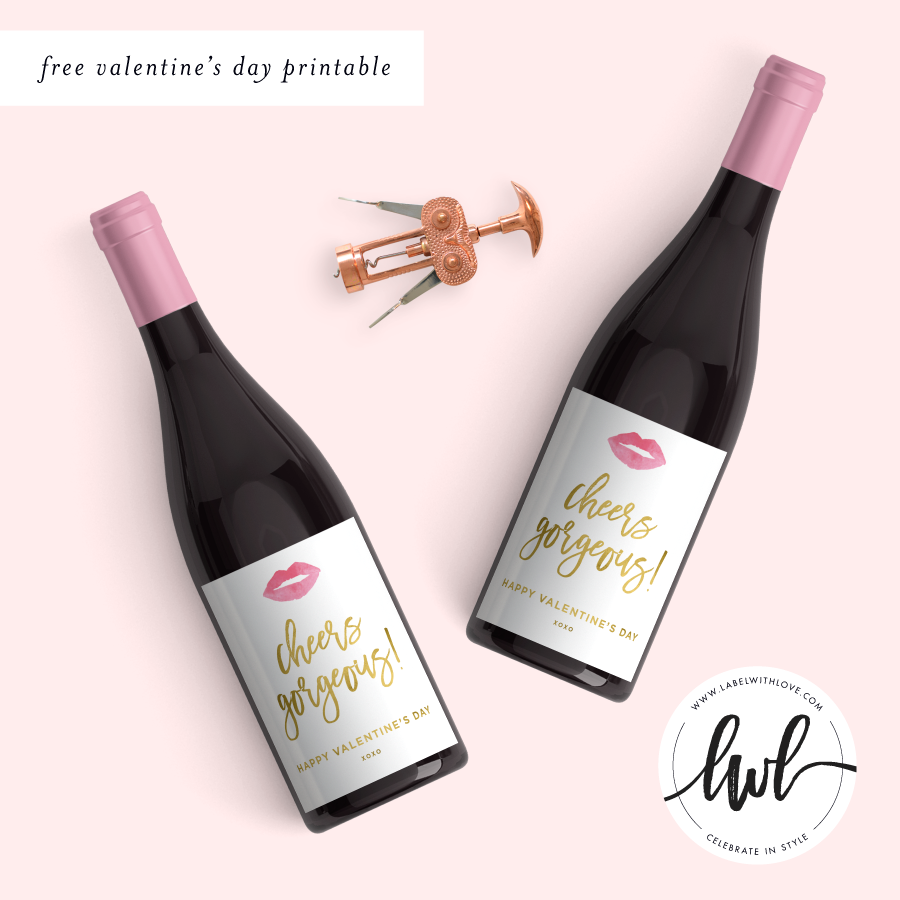 image regarding Printable Wine Labels identified as Free of charge Valentines Working day Printable Wine Labels LABEL WITH Delight in