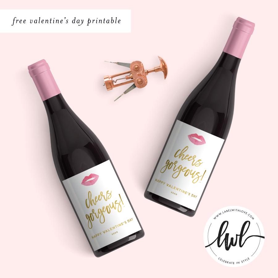 Printable Wine Bottle Labels: Free Valentine's Day Printable Wine Labels