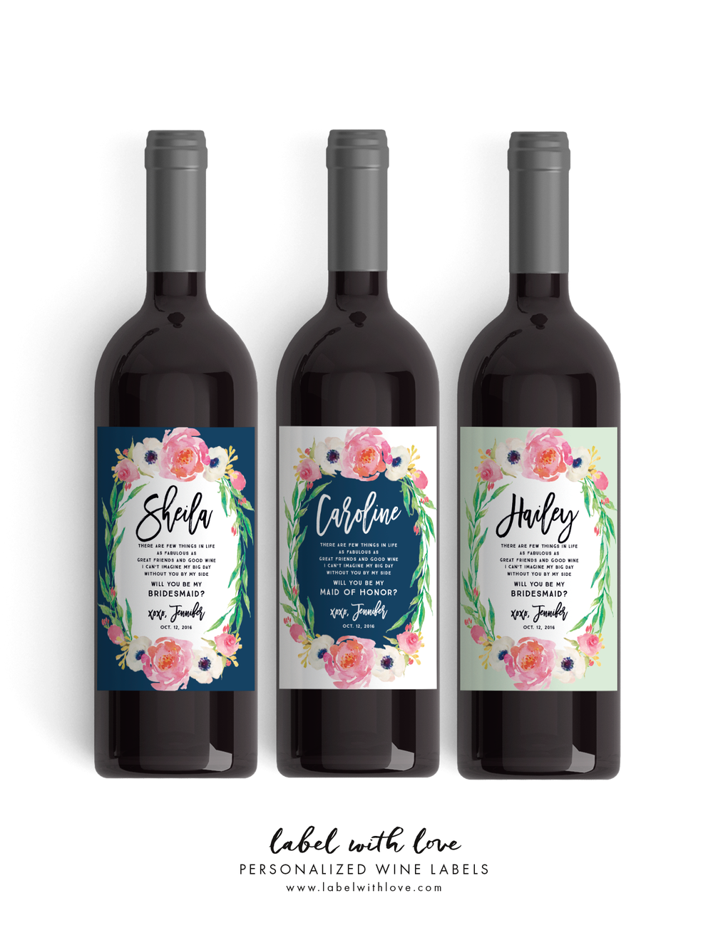Bridesmaid  Wine Labels - By Label with Love