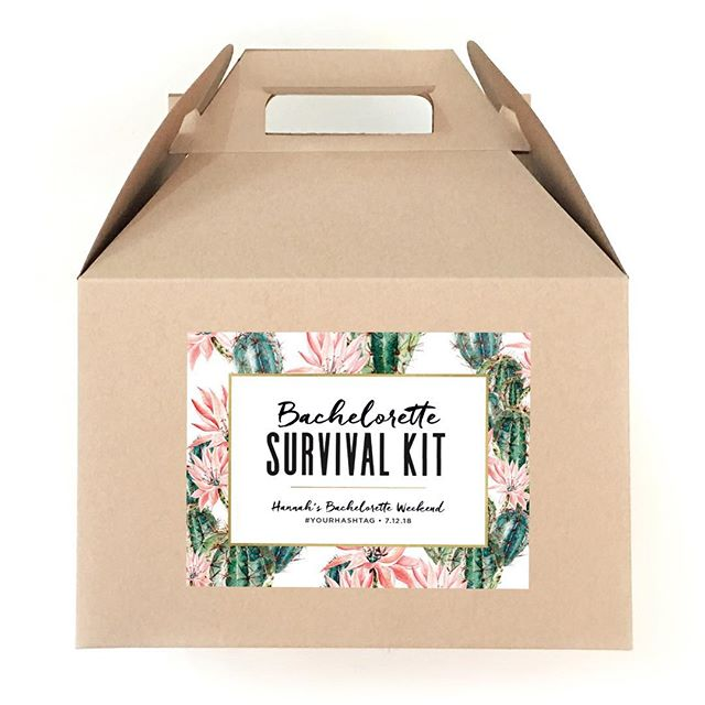 Let's taco bout a party! 🌵🌮🌵New gable box and bag labels are now available in the shop, including this fun cactus survival kit design. We'll have full survival kit boxes and bags available soon as well...just in time for bachelorette season! #survivalkit #bacheloretteparty