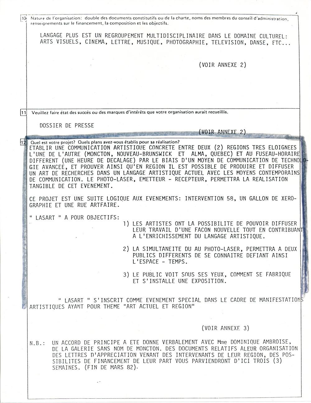 Document original : Extrait d'une demande de subvention où on peut lire les objectifs du projet LASART..
