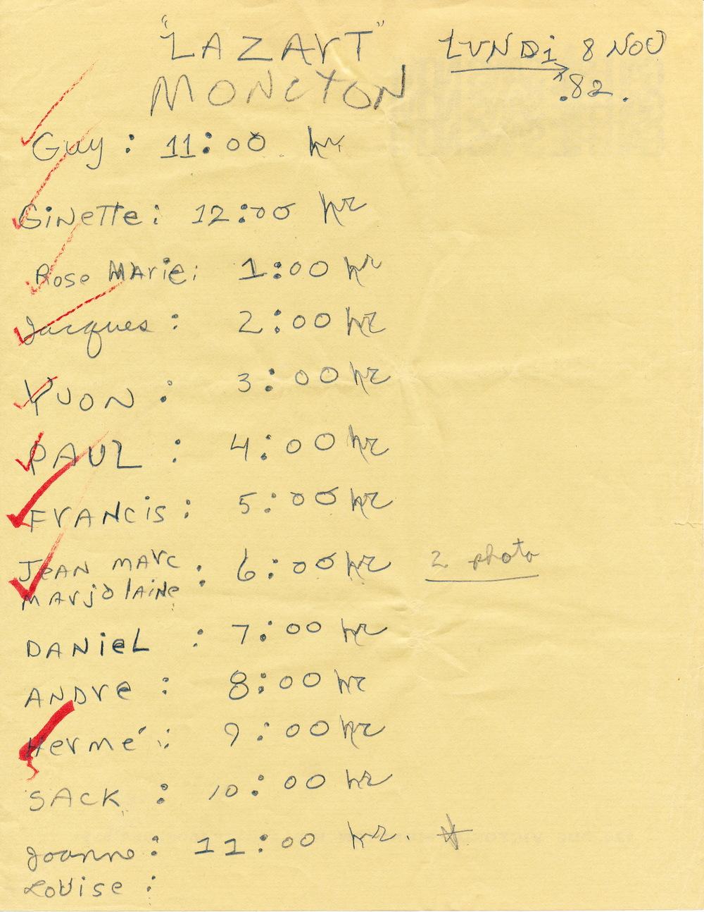 Document original : Horaire du Jour J ( 8 novembre 1982 ) - Moncton.