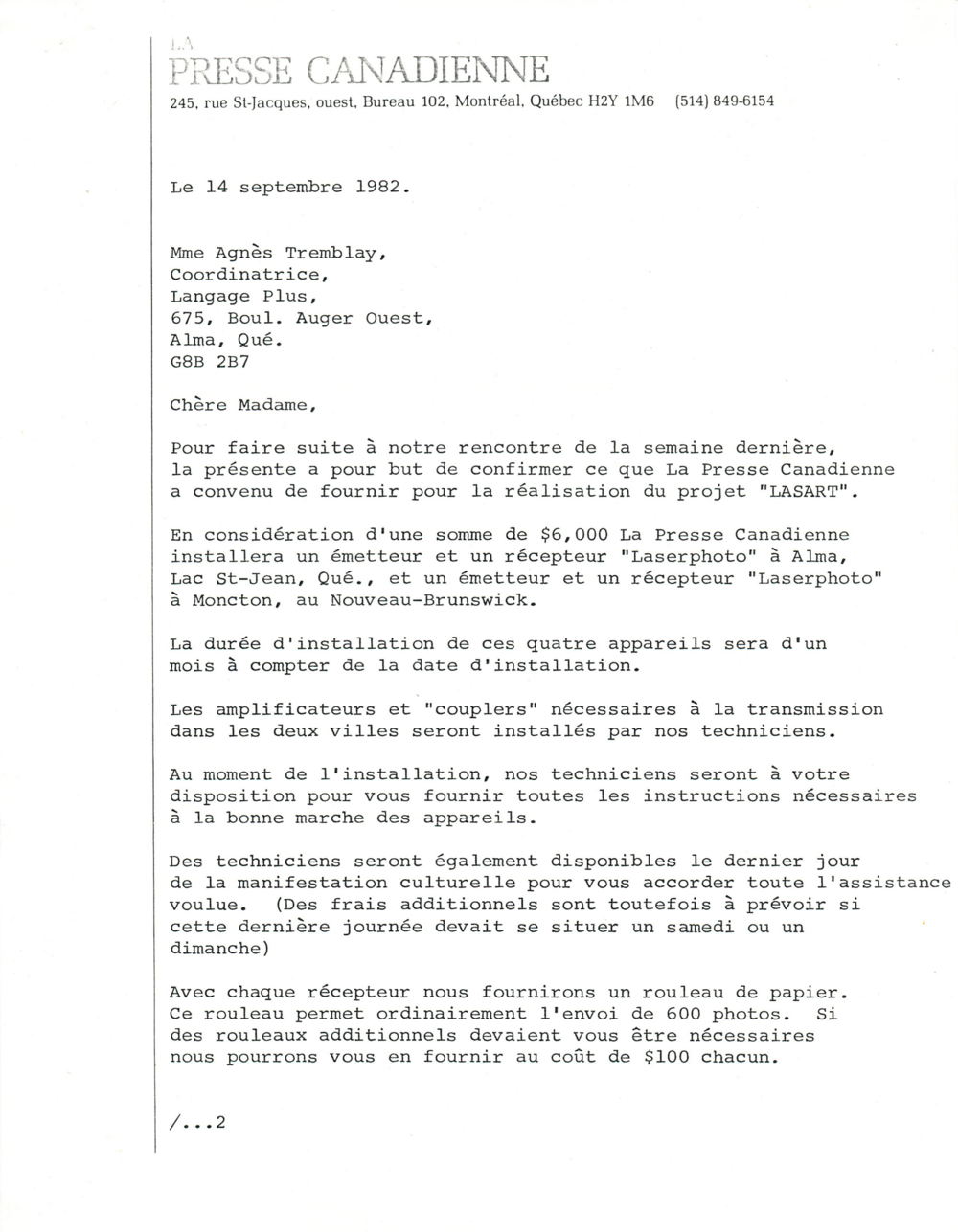 Document original : Lettre à Agnès Tremblay ( Langage Plus) de la part de La Presse Canadienne confirmant le prêt des machines. 1/2