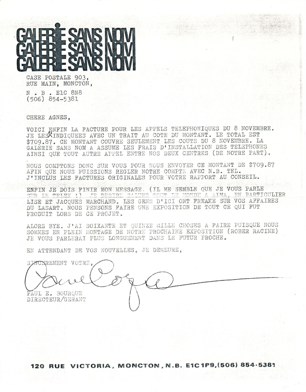 Document original : Lettre à Agnès Tremblay ( Langage Plus ) de la part de Paul Édouard Bourque (Galerie Sans Nom ) communiquant le montant de la facture téléphonique du jour J.