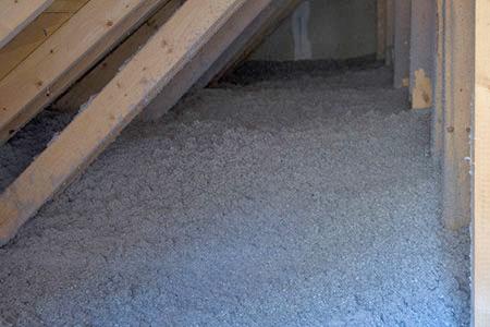 Cellulose insulation in an attic.