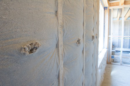Cellulose insulation in a wall.