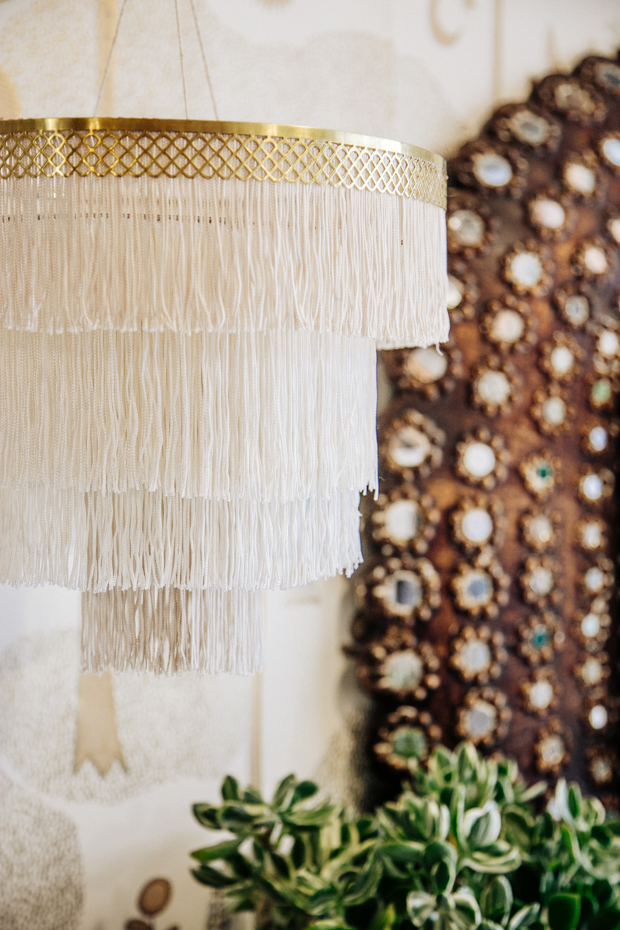 DIY Fringe Plug in Chandelier by  Jungalow