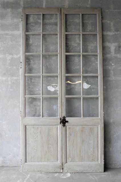 19th c. Provençal French Doors with Glass and Antique Hardware by  Chateau Dominigue