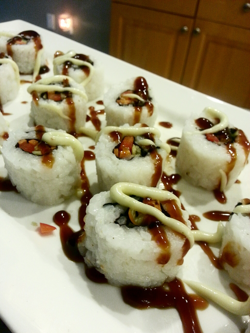 Vegetable Maki Rolls with Wasabi Cream