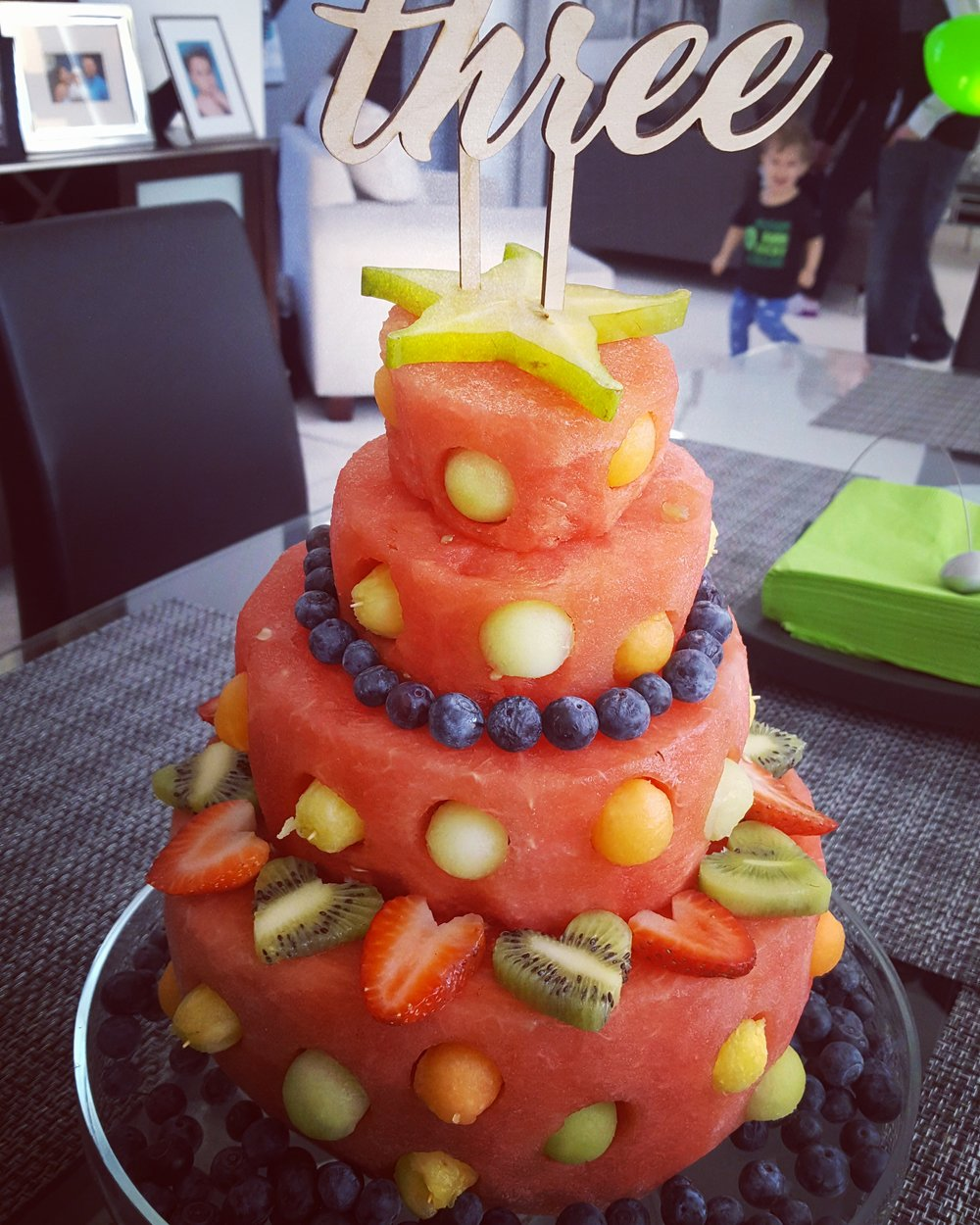 The Famous Watermelon Cake!!  Raw fruit cake with organic watermelon, berries, melon, kiwi and more.   $55/serves 20-25