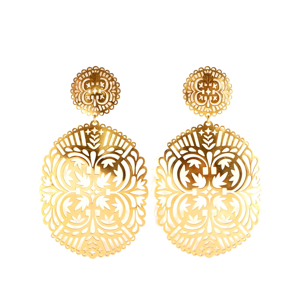 Handmade Statement Big 22 Carat Gold Ornament Earrings Jewellery Jewelry