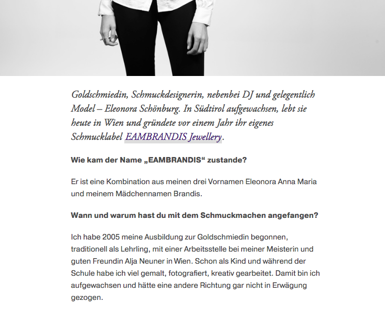 Vöslauer blog online magazine eambrandis jewellery jewelry feature report young designer vienna