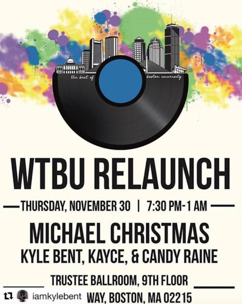 Event poster - WTBU Relaunch. Featuring Michael Christmas, Kyle Bent, Kayce, and Candy Raine. Trustee Ballroom, 9th floor.