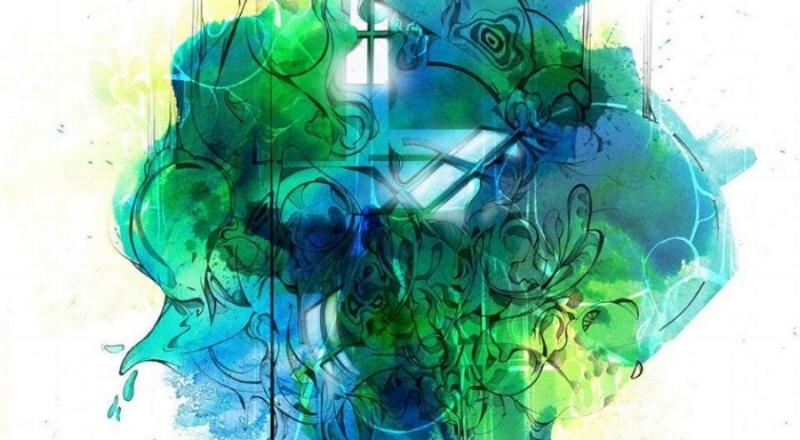 Album artwork for The Sun Through The Rain, Steve Bilodeau's third album. Artwork by Dom Laporte