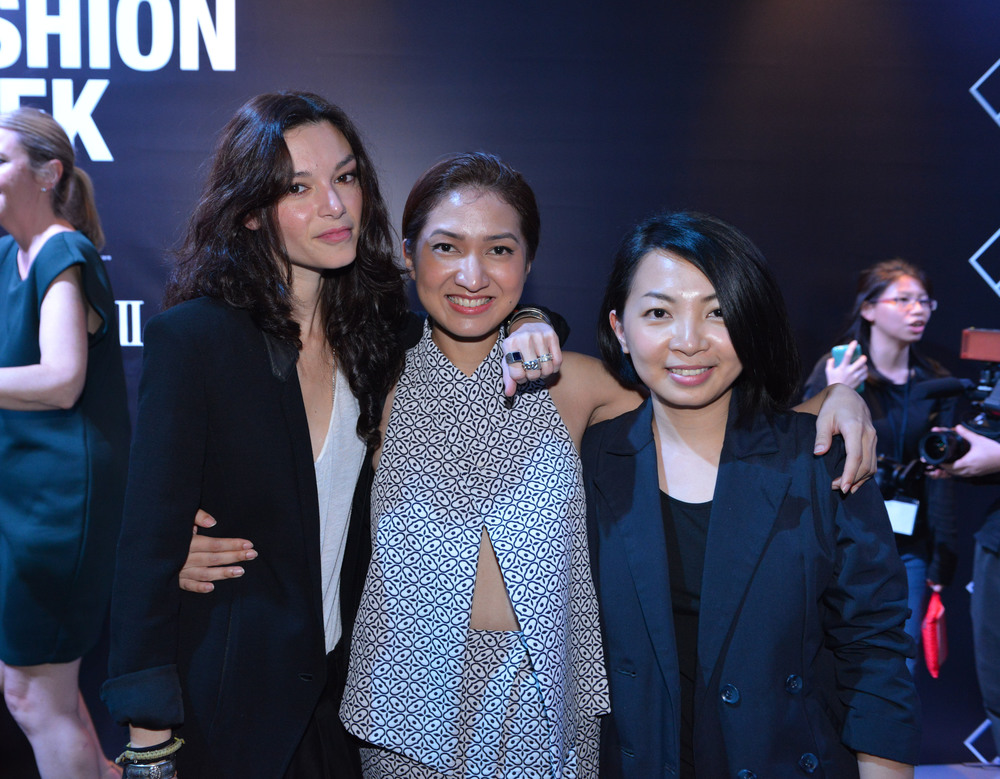 Singaporean designers Chelsea Scott-Blackhall of Dzojchen, Priscilla Shunmugam of Ong Shunmugam, and Sabrina Goh of Elohim (Credit: Adrian Thoo)