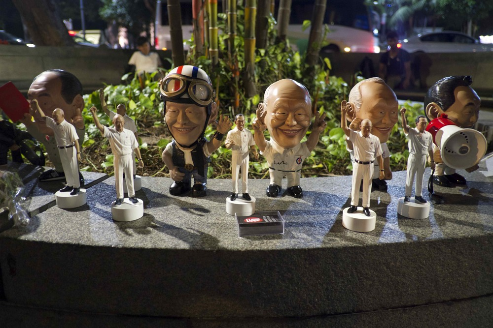 Lee Kuan Yew paraphernalia sold near City Hall during the mourning of the former prime minister. (Credit: Dene-Hern Chen)