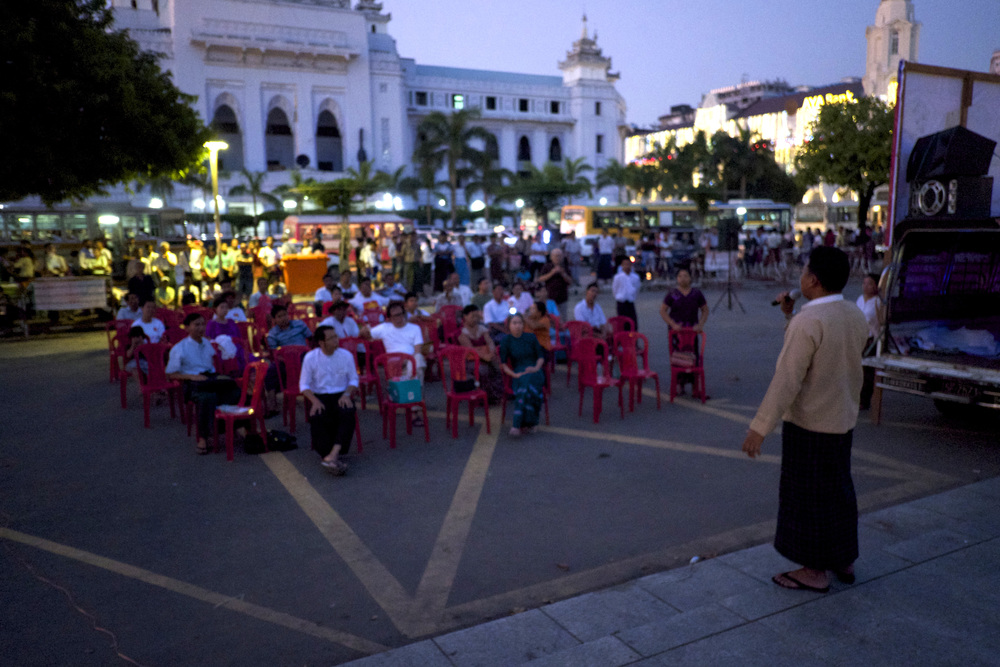 National Democratic Force candidate Kyaw Thu Ya holds a rally in Rangoon. (Credit: Dene-Hern Chen)