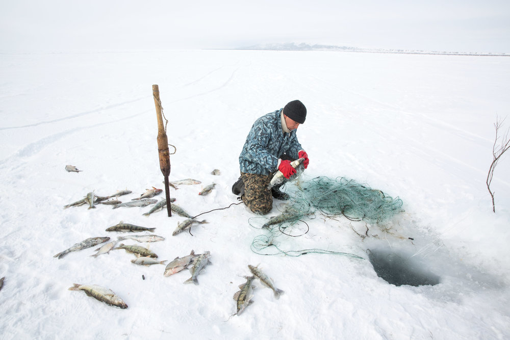 Omirserik Ibragimov, 25, uses a net to ice fish on the frozen surface of the North Aral Sea near Tastubek, Kazakhstan. (Credit: Taylor Weidman)