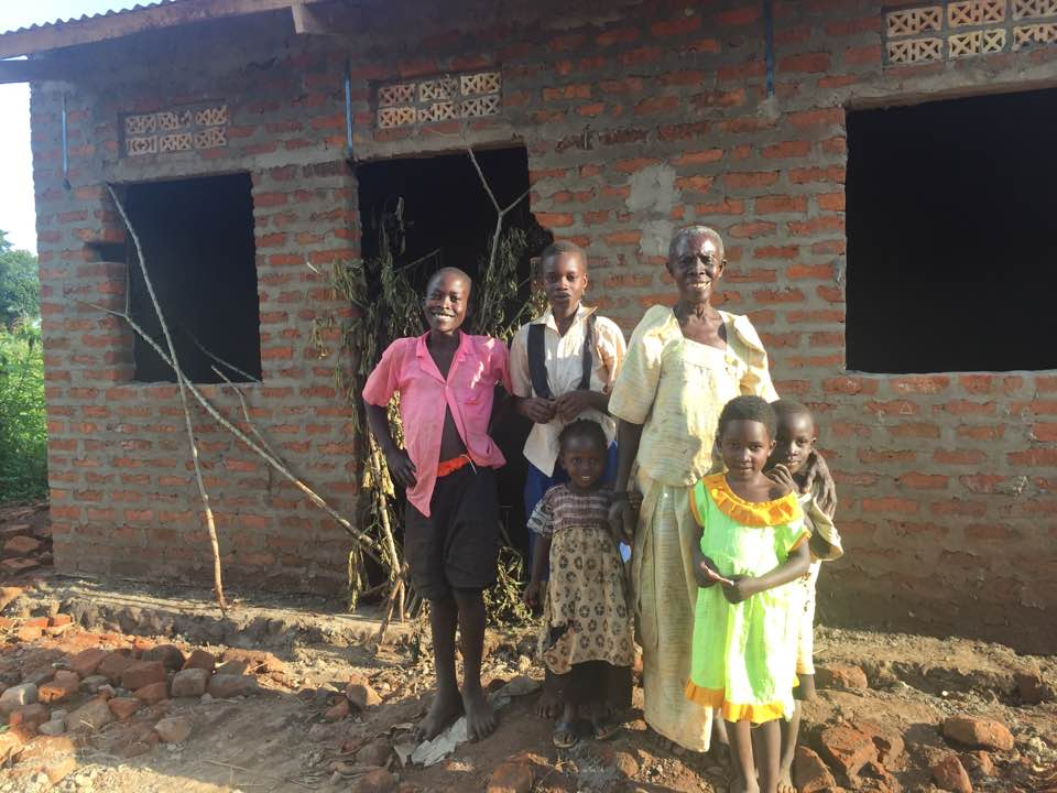 Lovisa  is the mother of 9 children and lives in a village in Uganda. She was widowed in 1985 and her son, Daniel Wafu died in 2015 leaving three grand children for Lovisa to care for and raise.  Her former home was falling down, but now she and her grandchildren have a strong new home!  Thanks for generously providing for Lovisa and her family.