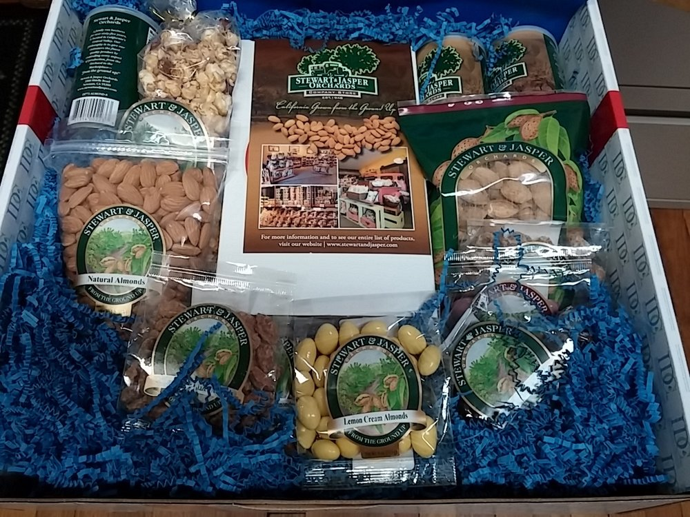 A client gifted us with a delectable assortment of nuts and candies from his almond farms in CA
