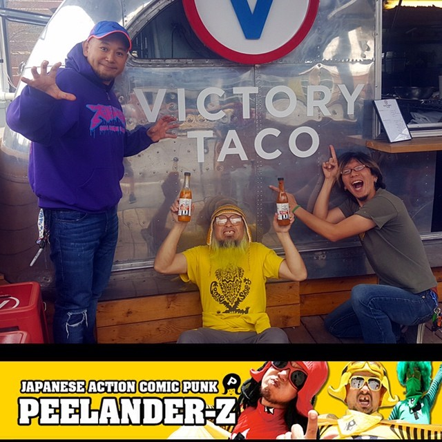Peelander Z loves @victorytaco. #peelanderz @peelanderz #japanesepunk #downtownbozeman