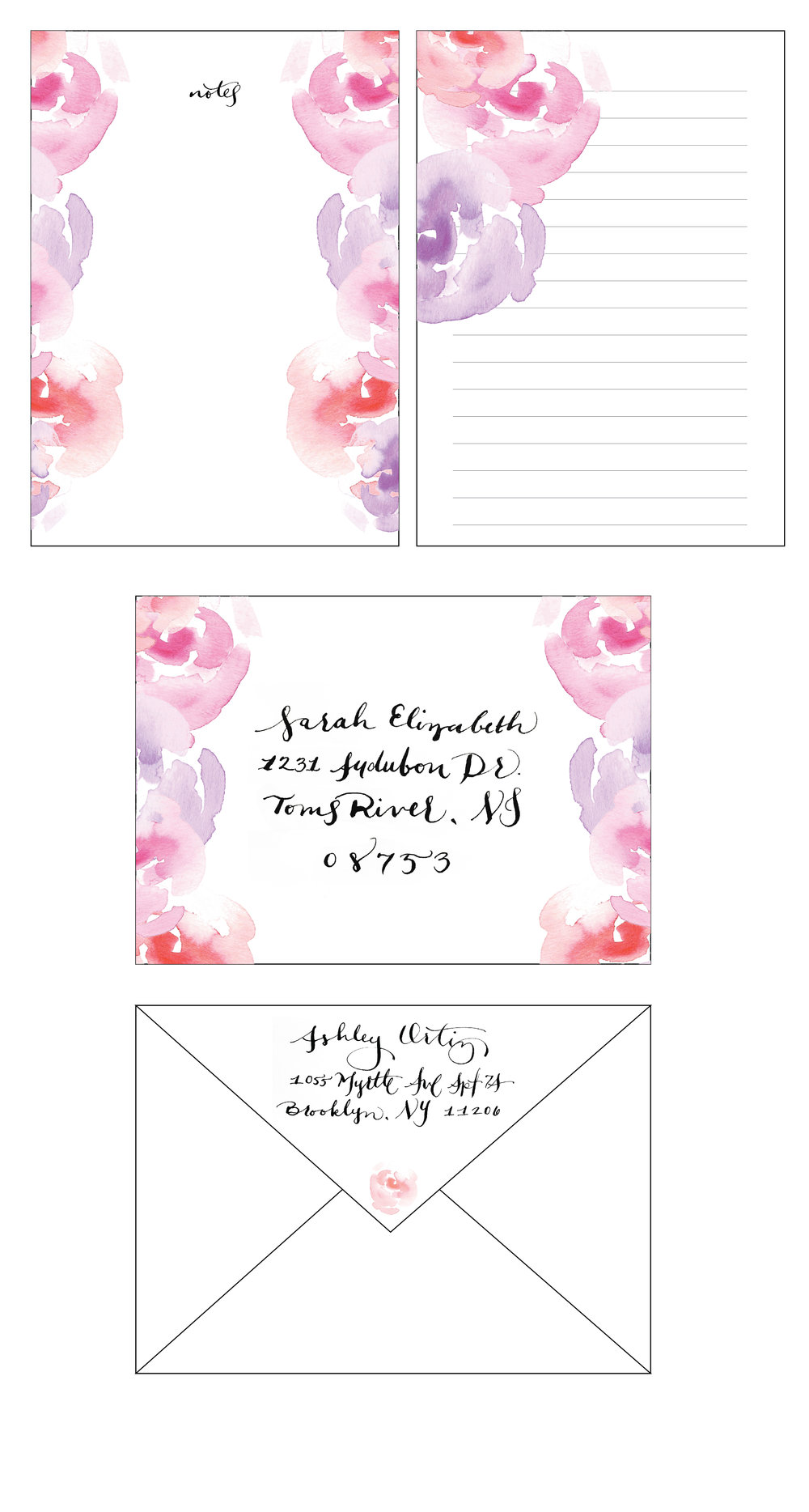 Watercolored, designed & calligraphed bespoke stationery set.