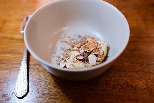 Parsnip ice cream, malted milk meringue, pecans