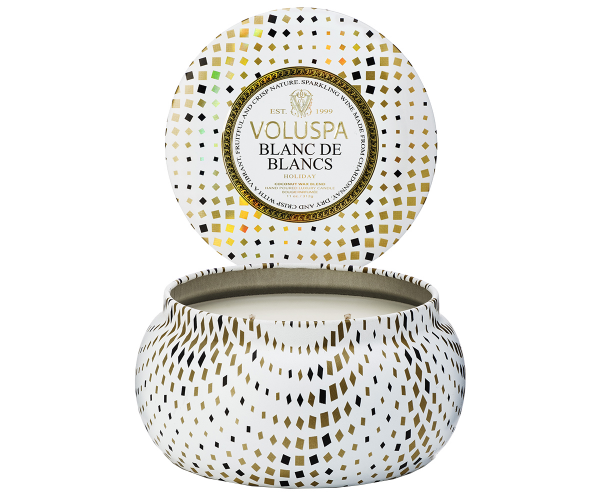 Voluspa Holiday Blanc de Blancs 2-Wick Candle Tin