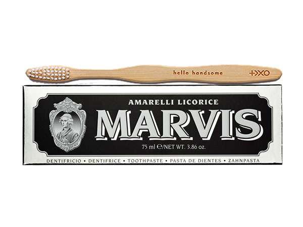 """Marvis Amarelli Licorice Toothpaste and Plus Ultra Eco Logical Bamboo Toothbrush """"Hello Handsome."""""""