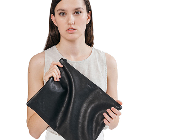 Baggu Large Flat Pouch in Black Leather.