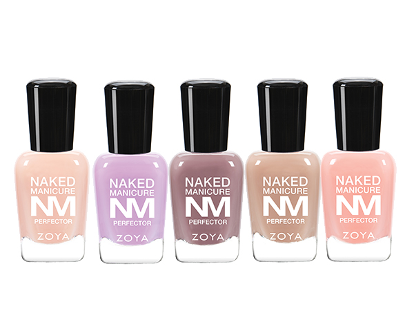 Zoya Naked Manicure Perfectors in Buff, Lavender, Mauve, Nude and Pink.