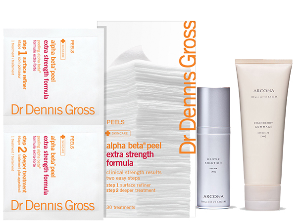 Dr. Dennis Gross Skincare Alpha Beta Peel and ARCONA Gentle Solution + Cranberry Gommage.